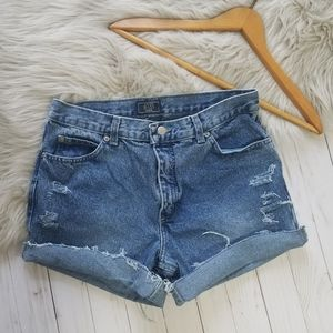 Bass distressed cutoff jean shorts roll cuff 10